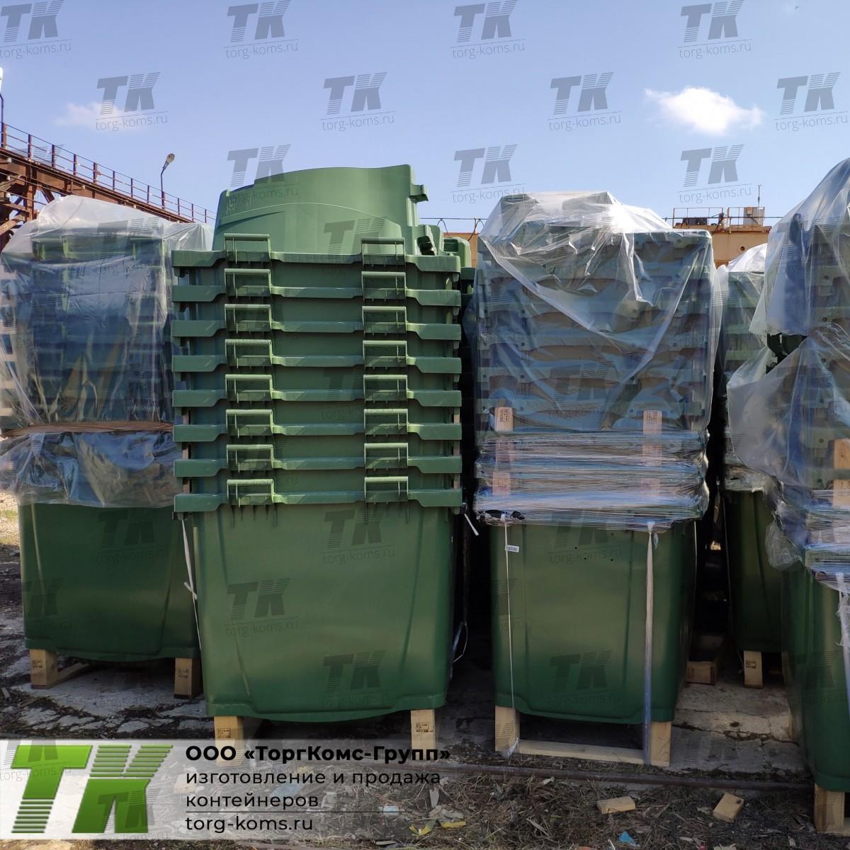 Серый бак пластиковый 1100 л для смещанных отходов