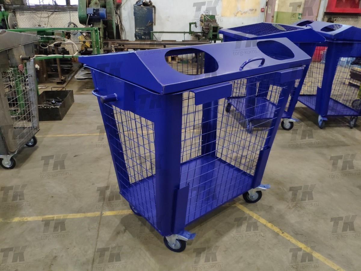 Синий бак для сухих отходов 1,1 м3