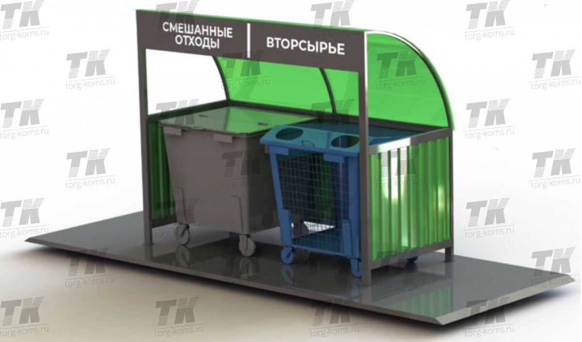 Площадка контейнерная. Вторсырье и смешанные отходы.
